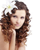 Pure beauty. Portrait of very cute young pure woman over white Royalty Free Stock Photo