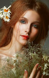 Pure Beauty. Auburn Girl Holding Bouquet Of Wildflowers. Tenderness Royalty Free Stock Photos