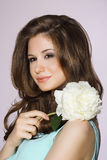 Pure Beauty. Girl holding White Peony Flower Royalty Free Stock Images