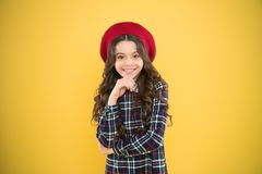 Pure beauty. Kid little cute fashion girl posing with long hair and hat. Fashion girl. Fashionable accessory. Teenage royalty free stock photo