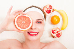 Pure beauty model relaxing  with fresh face mask Royalty Free Stock Images