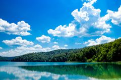 The reflexion in the Plitvice Lakes in Croatia Royalty Free Stock Photos