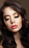 Pure Beauty. Portrait of Young Brunette with Glossy Makeup Stock Image