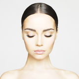 Pure beauty. Studio portrait of beautiful young woman with perfect skin. Beauty and care. Extension eyelashes. Spa salon Royalty Free Stock Photo