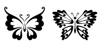 Pure black lines of butterflies. Black and white decorated butterfly Royalty Free Stock Photography