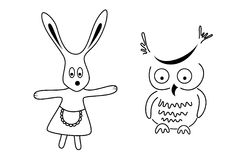 Pure black lines of  owl and rabbit. A vector illustration for decoration Royalty Free Stock Images