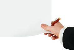Pure blank and pen in hand Royalty Free Stock Photography