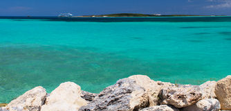 Pure blue water in Coco-Cay island, Bahamas Stock Photo