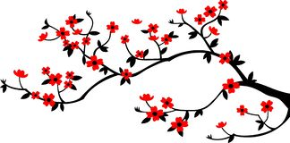 Pure branch and flowers. Pure vector branch with red flowers in CDR format, no gradients, perfect for using with plotters and Oracal stock illustration
