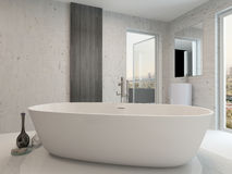 Pure clean white bathroom interior with bathtub Royalty Free Stock Photography