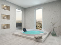 Pure clean white bathroom interior with bathtub. Picture of Pure clean white bathroom interior with bathtub Stock Photos