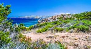 Pure clear azure sea water and amazing rocks on coast of Maddalena island, Sardinia, Italy Stock Images
