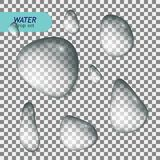 Pure clear water drops realistic set isolated vector illustration.  stock illustration