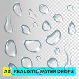 Pure clear water drops realistic set. Royalty Free Stock Photography
