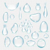 Pure clear water drops realistic set  vector illustration Stock Photo