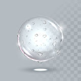 Pure clear water drops on surface. Vector realistic droplets spray. Vector water drops on sphere surface. Pure clear crystal ball with dew droplets. Vector Stock Photos