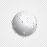 Pure clear water drops on surface. Vector realistic droplets spray. Stock Photography