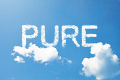 Pure cloud word on sky Royalty Free Stock Photography