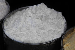 Pure cocaine. Powder from Columbia in silver metal container Stock Photo