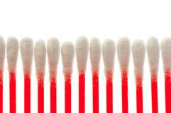 Pure cotton buds lined up in row Stock Images