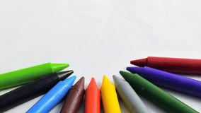 Pure crayons isolated on white background. Pure crayons isolated on white background, Colorful pastels with copy space Royalty Free Stock Image
