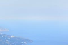 Pure Crimean coastline of the Black sea. Coastal resorts of Crimea. Black sea. Aerial view from the top of Ai-Petri mountain. Hot sunny summer day. Beautiful stock photos
