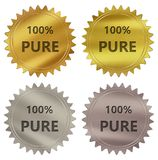 100% pure guarantee label. 100% pure 3d rendered 4 color tag , golden guarantee label Stock Photography