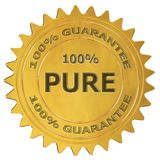 100% pure guarantee label. 100% pure 3d rendered golden guarantee label vector illustration