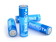 Pure energy. Very high resolution 3d rendering of four batteries over white Royalty Free Stock Photo