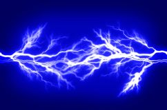 Pure Energy and Electricity Symbolizing Power. Pure energy and electricity with blue background symbolizing power stock photo