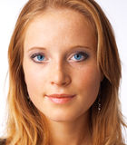 Pure Eyes. Close-up portrait of a beautiful young blue-eyed model Stock Photography