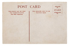 Pure faded, tattered vintage postcard. On white background Stock Photography