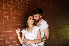 Pure feelings. Girl and hipster romantic feelings relations. Couple find place to enjoy feelings. Couple enjoy intimacy. Cuddling without witnesses. Couple in stock photos