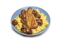 Pure Fillet of Pork with tagliatelle and brown mushrooms Royalty Free Stock Photography