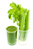 Pure fresh green celery juice in glass isolated Royalty Free Stock Photography