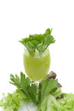 Pure fresh green vegetable juice in glass Royalty Free Stock Image