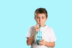 Pure Fresh H2O. A child drinking pure fresh water Royalty Free Stock Image