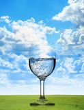 Pure fresh water. In a glass over a natural background Stock Photography