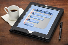 Pure goal setting concept. PURE (positively stated, understood, ethical) goal setting concept - a diagram on a tablet computer with stylus pen and espresso stock images