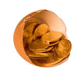 Pure gold coins in egg shell illustrating savings Royalty Free Stock Photography