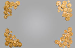 Pure gold coins forming edge of background Stock Photos