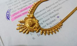 Gold necklace jewelry jewellery design Stock Photography