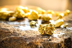 The pure gold ore found in the mine. On a stone floor royalty free stock photo