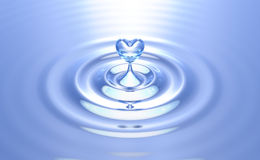 Pure heart water splash with ripples