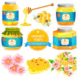 Pure Honey in bottle and jar with honeycomb Stock Photo