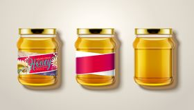 Pure honey jar mockup. Top view of glass jars with honey in 3d illustration, some with labels and package design Royalty Free Stock Image