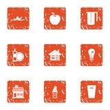 Pure house icons set, grunge style. Pure house icons set. Grunge set of 9 pure house icons for web isolated on white background royalty free illustration