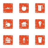 Pure house icons set, grunge style. Pure house icons set. Grunge set of 9 pure house vector icons for web isolated on white background stock illustration