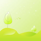 Pure illustration of summer landscape in shades of green tree Stock Photos