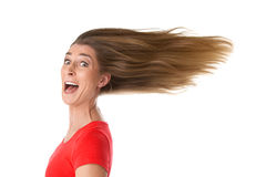 Pure joy. Isolated woman in the wind Royalty Free Stock Photos